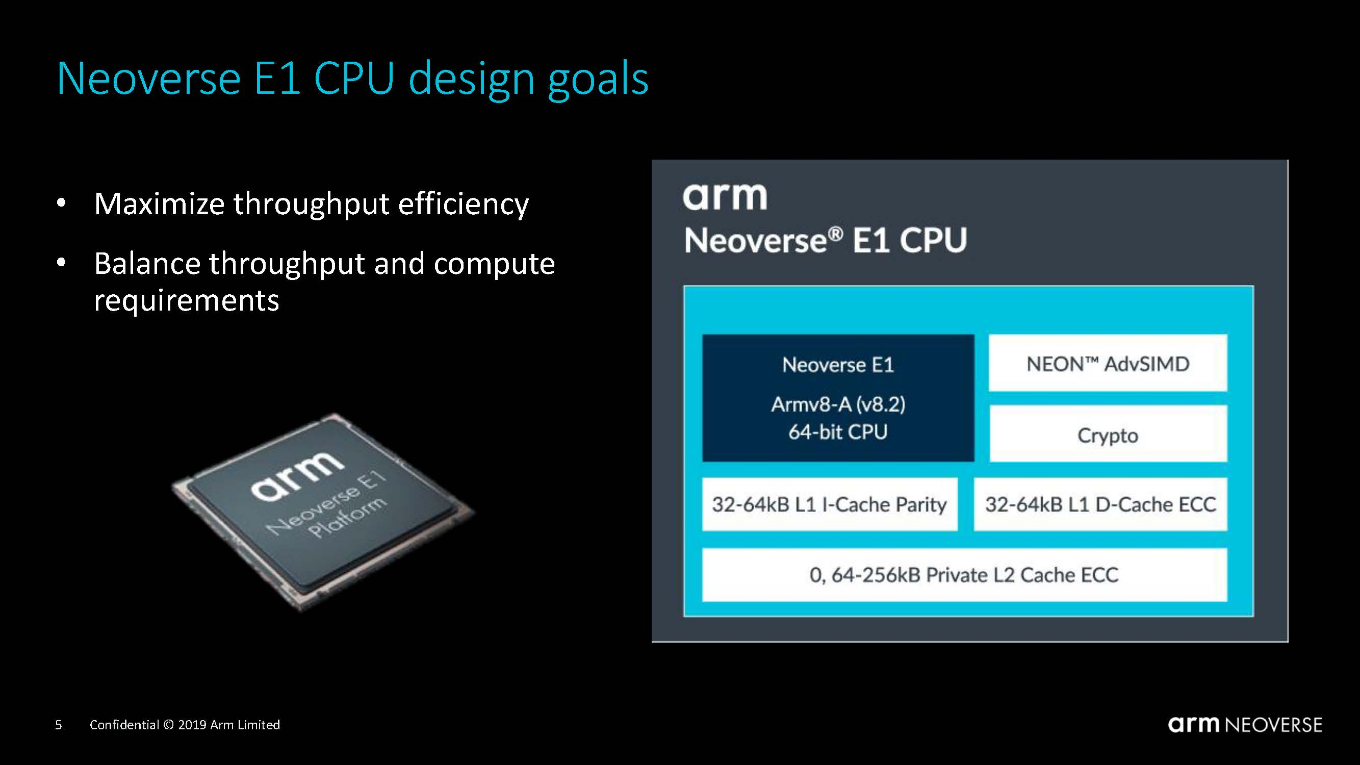 Arm Neoverse Tech Day 2019 Neoverse E1 Design Goals