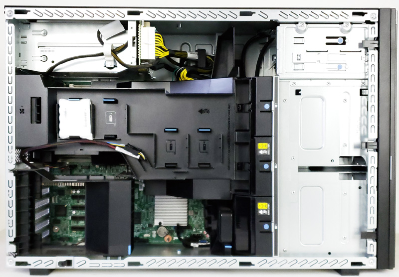 Lenovo ThinkSystem ST550 Tower Side Panel Removed