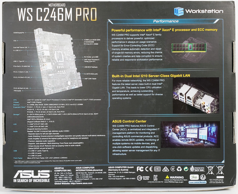 ASUS WS C246M Pro Motherboard Box Back