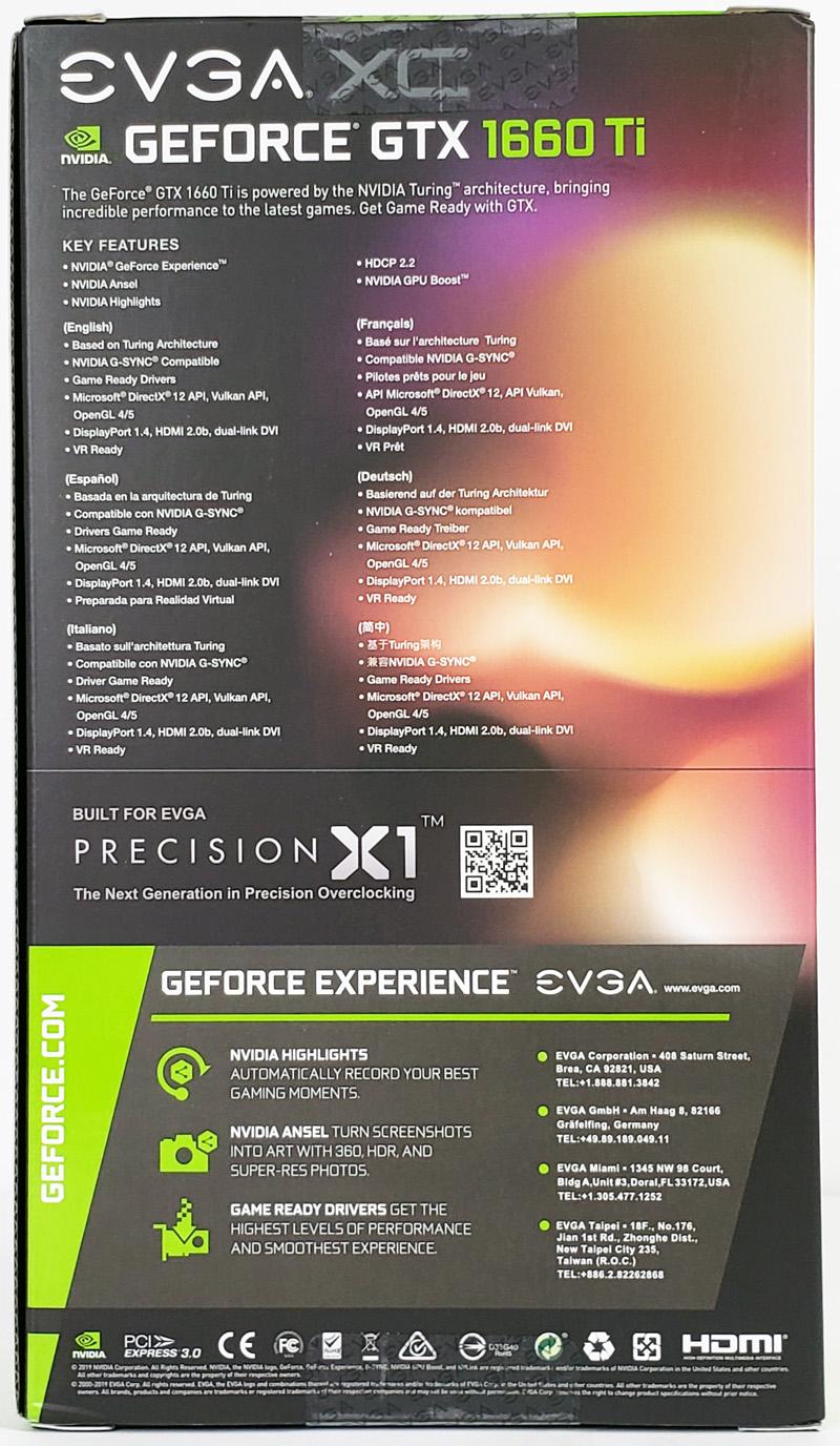 EVGA GTX1660 Ti XC Black Retail Box Back