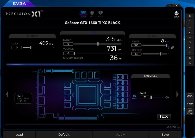 EVGA Precision X1 Main Screen