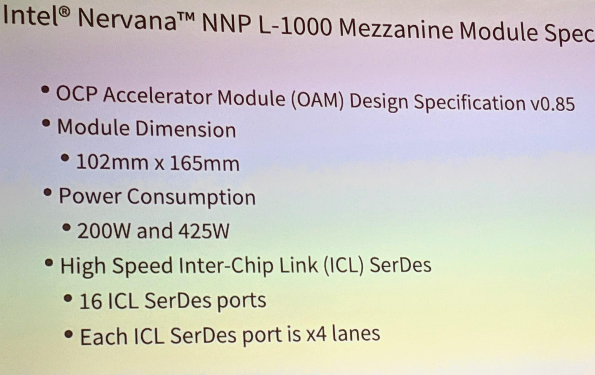 Intel Nervana NNP L 1000 Mezzanine Specs