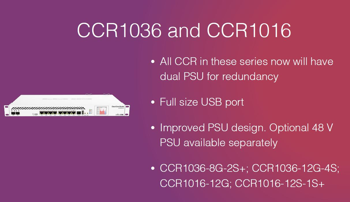 MikroTik CCR1036 And CCR1016