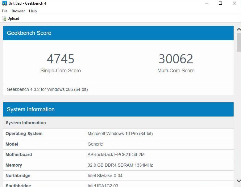ASRock Rack EPC621D4I 2M Geekbench
