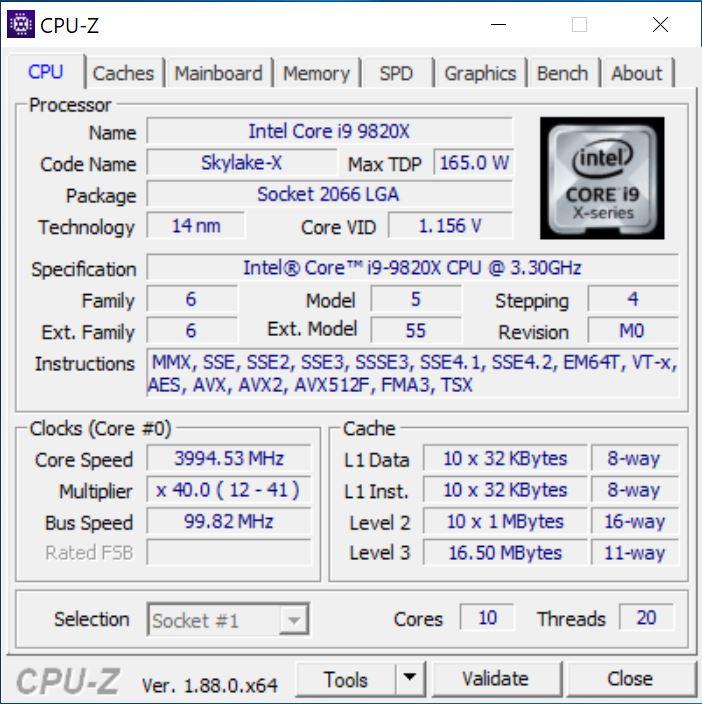 Gigabyte X299 AORUS Master CPUz