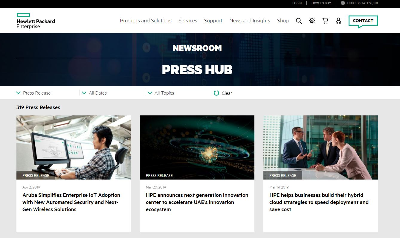HPE Press News Room Accessed 03 Apr 2019 12PM Pacific