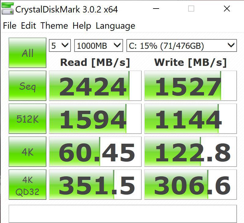 Lenovo ThinkPad P52 CrystalDiskMark