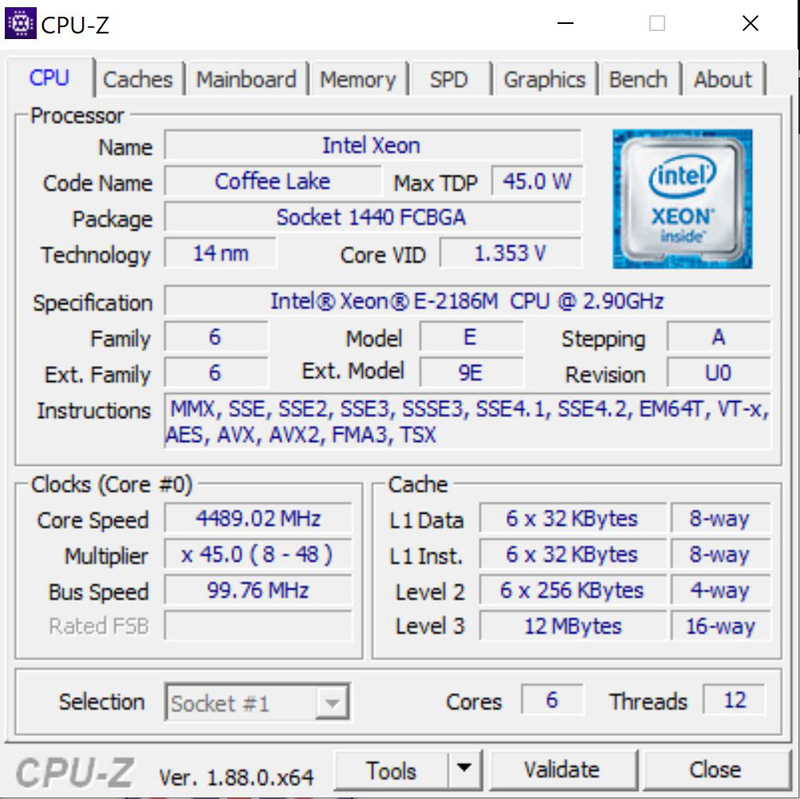 Lenovo ThinkPad P72 CPUz