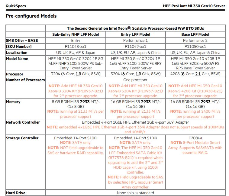 HPE ProLiant ML350 QuickSpecs Three Entry Models April 2 2019