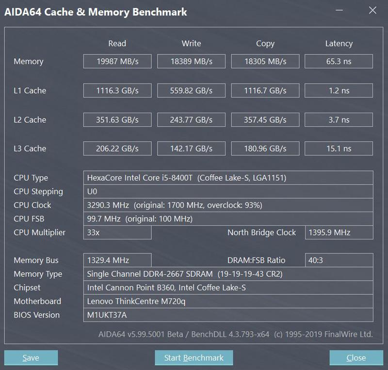 Lenovo ThinkCentre M720q Tiny AIDA64 Memory