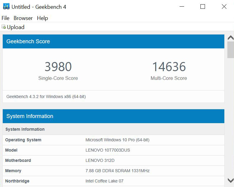 Lenovo ThinkCentre M720q Tiny Geekbench CPU