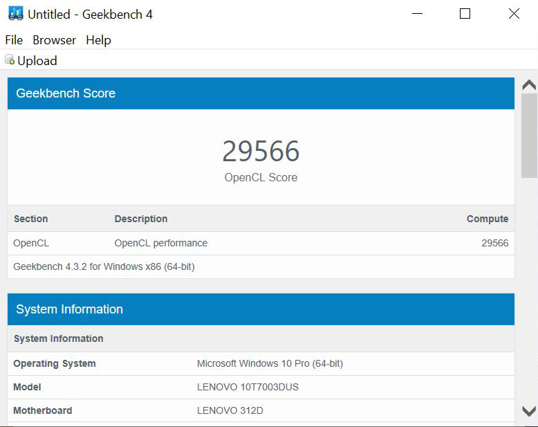 Lenovo ThinkCentre M720q Tiny Geekbench OpenCL