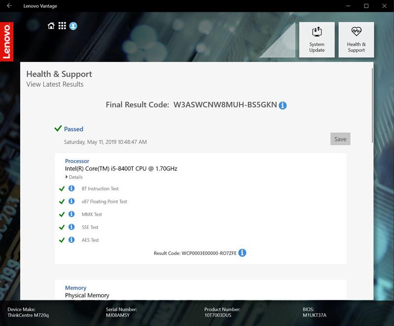Lenovo ThinkCentre M720q Tiny Vantage Final Result