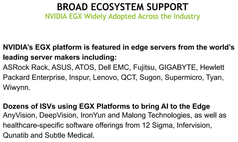 NVIDIA EGX Platform Ecosystem