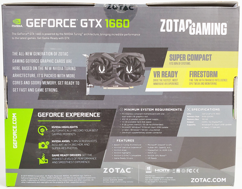 ZOTAC GTX 1660 6GB Box Back