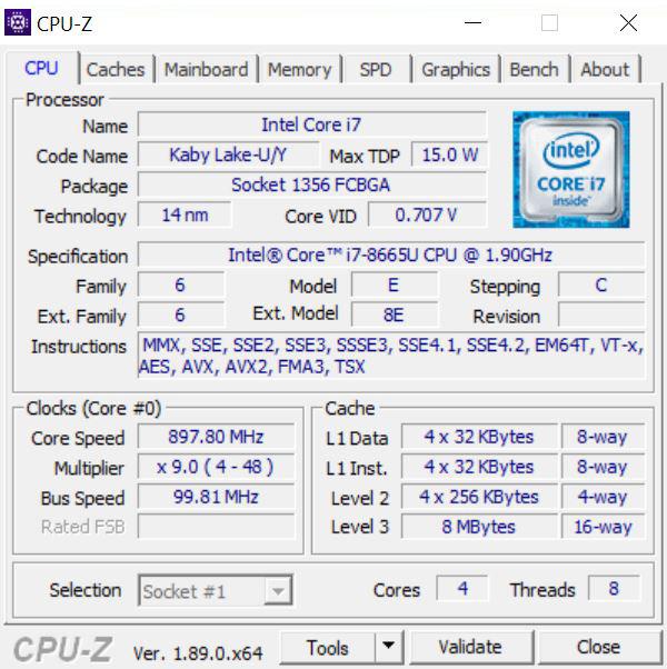 Dell Latitude 7300 CPUz