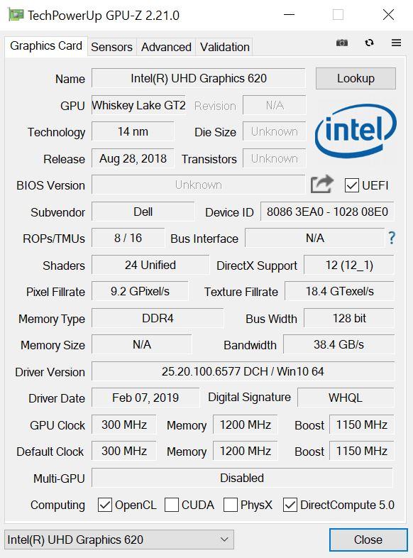Dell Latitude 7300 GPUz