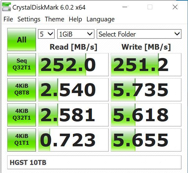 HGST Ultrastar DC HC510 10TB CrystalDiskMark