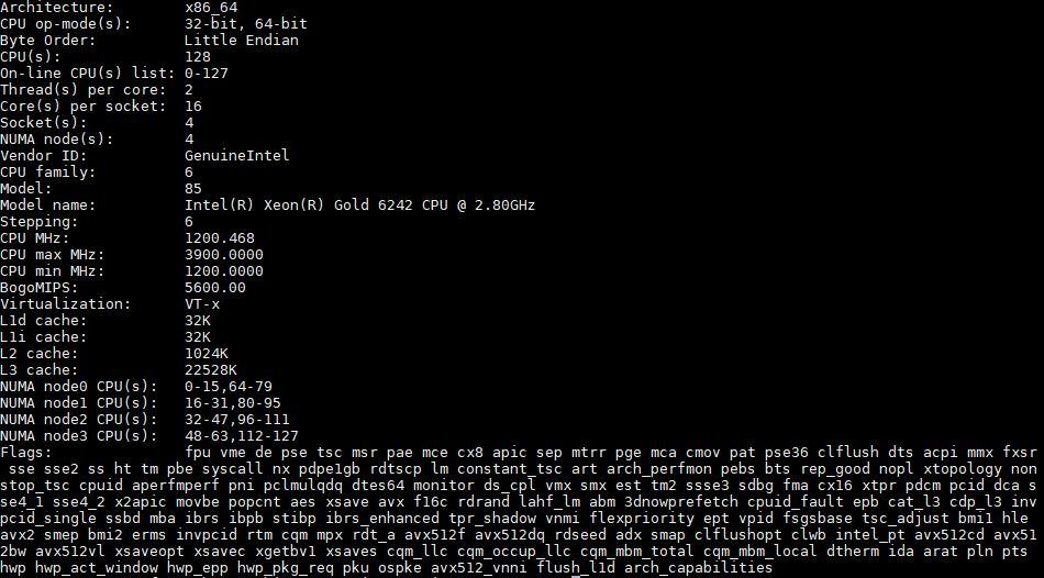 Intel Xeon Gold 6242 Lscpu 4P
