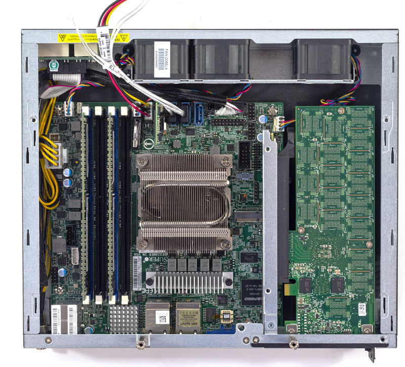 Supermicro AS E301 9D 8CN4 Internal Motherboard View Configured