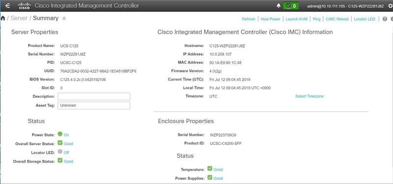 Cisco UCS M5 IMC Dashboard
