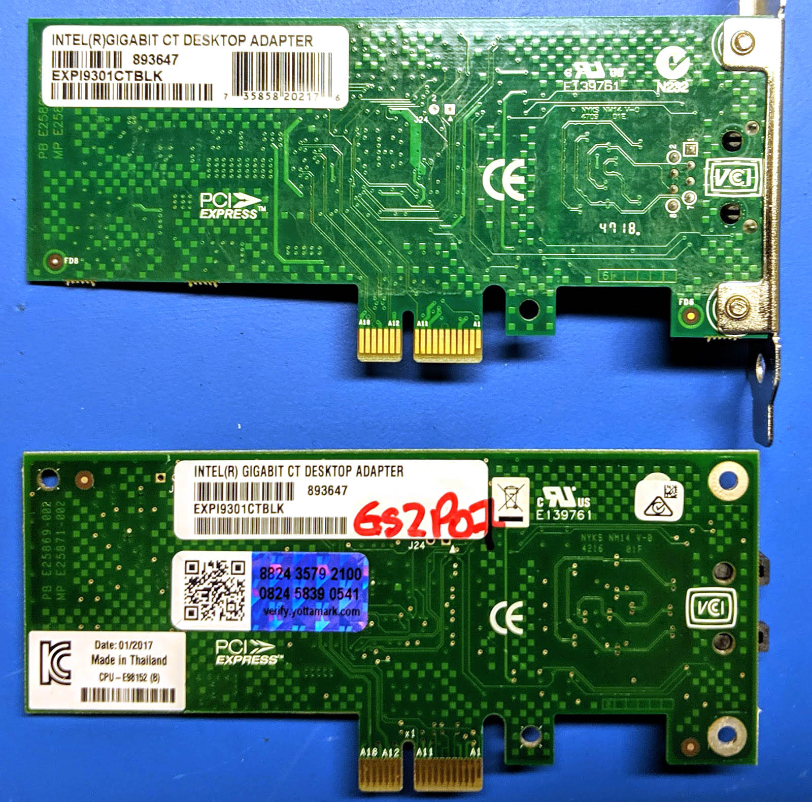 Counterfeit And Real Intel Gigabit CT Desktop Adapter Back