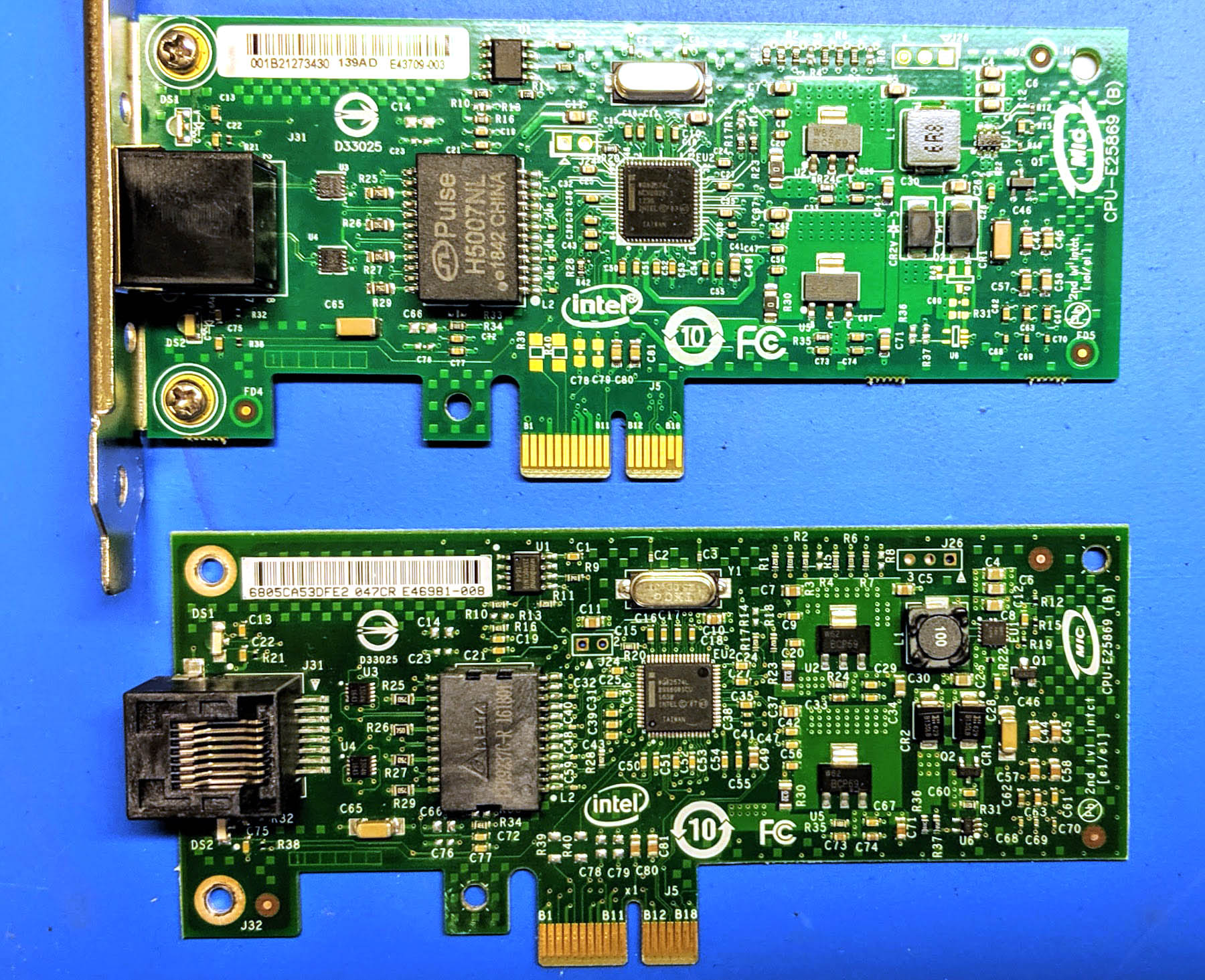 Counterfeit And Real Intel Gigabit CT Desktop Adapter Front