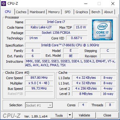 Dell Latitude 7200 2in1 CPUz