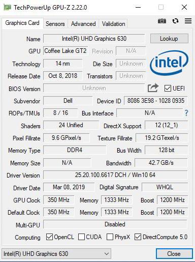 Dell OptiPlex 7470 AIO GPUz