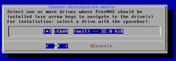 FreeNAS 11.2 U5 Installer 3 Select Boot Media