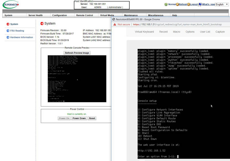 FreeNAS Mini XL Plus Supermicro IPMI HTML5 IKVM