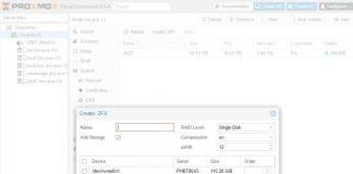 Proxmox VE 6.0 Create ZFS Tool
