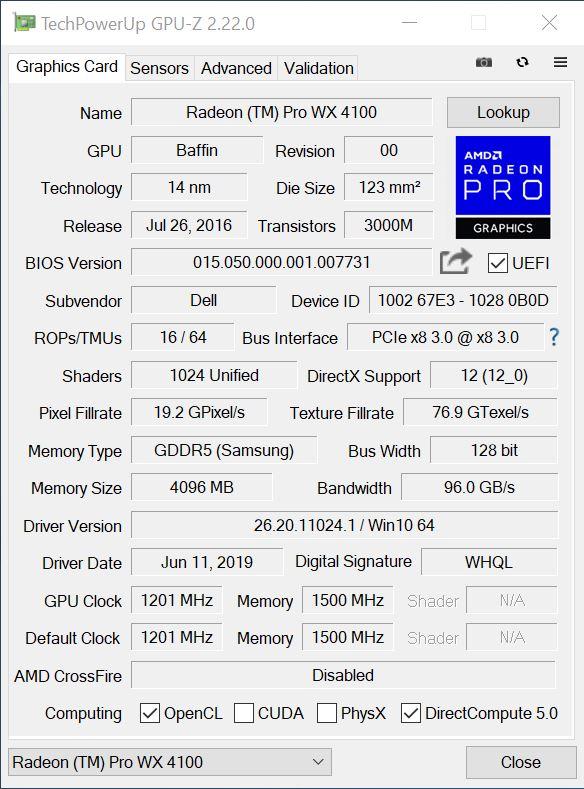 AMD Radeon PRO WX4100 GPUz