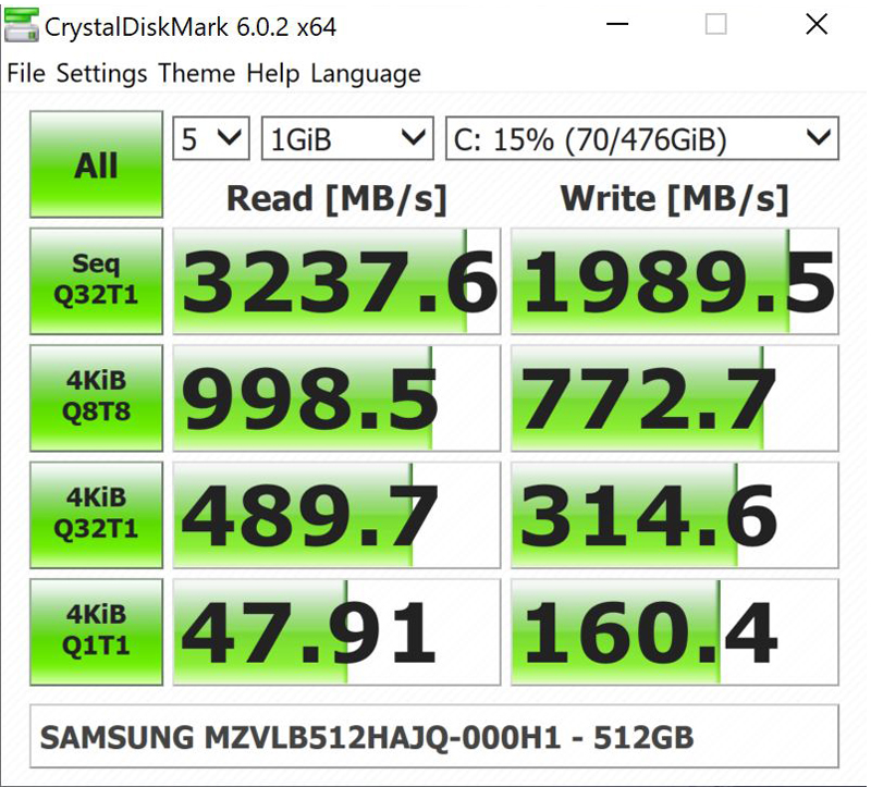 ZBook 14u G6 CrystalDiskMark