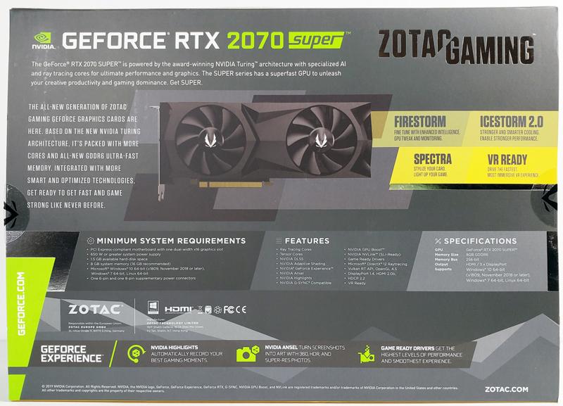 ZOTAC RTX 2070 SUPER Box Back