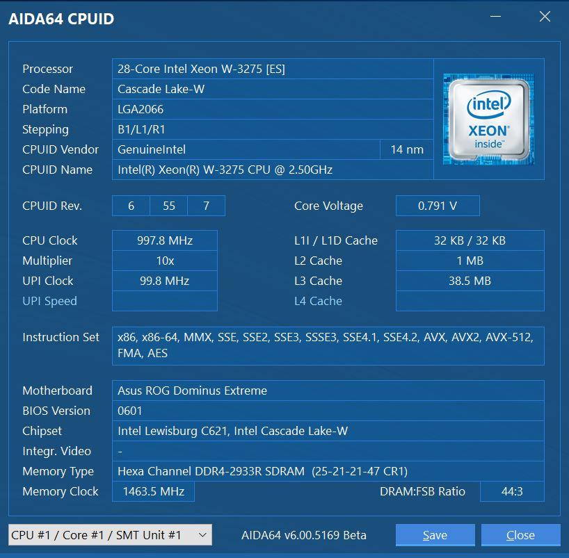 ASUS ROG Dominus Extreme AIDA64 CPUID
