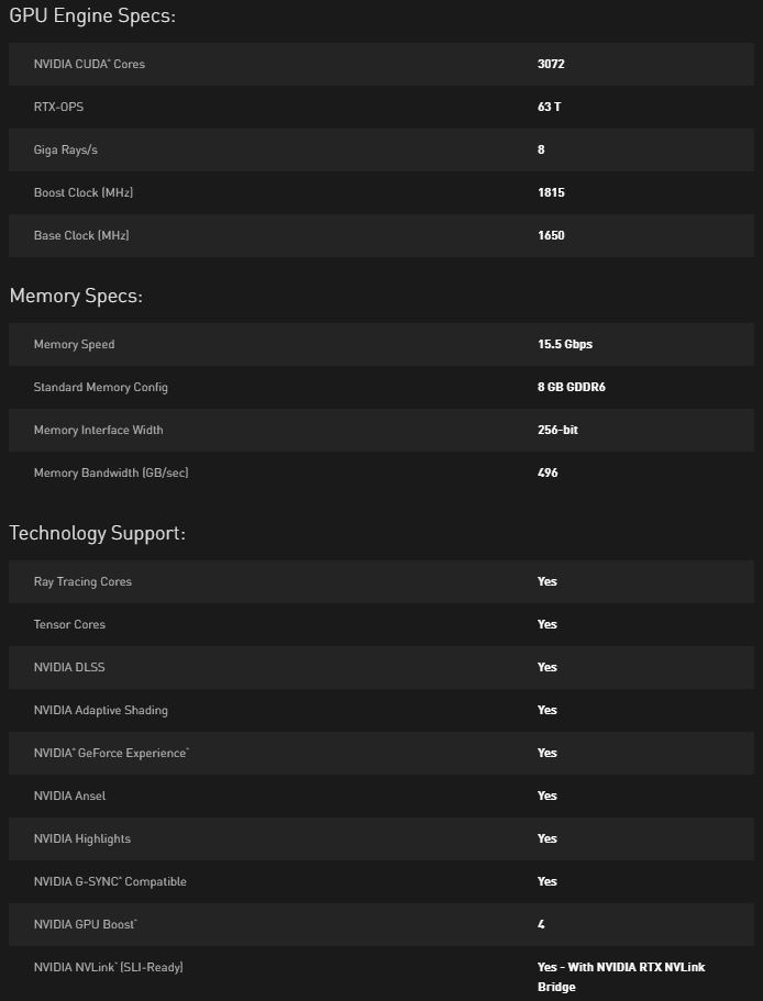 NVIDIA GeForce RTX 2080 Super Specs