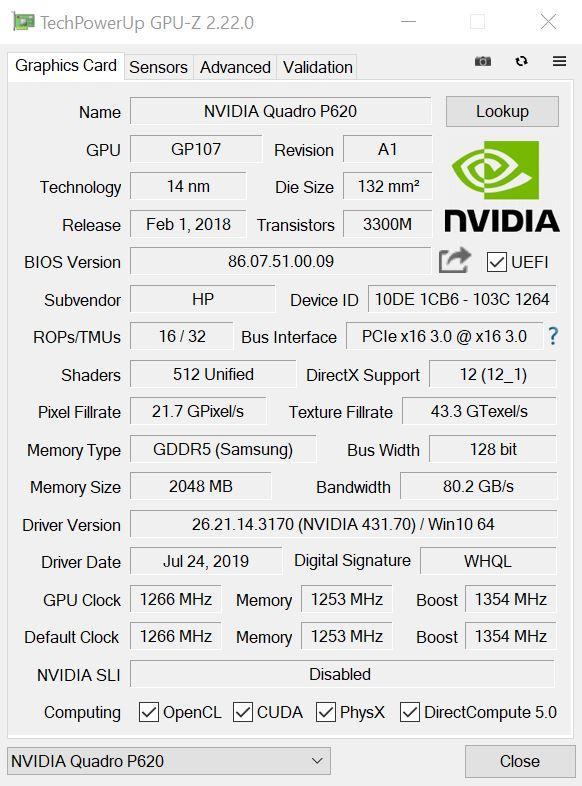 NVIDIA Quadro P620 GPUz