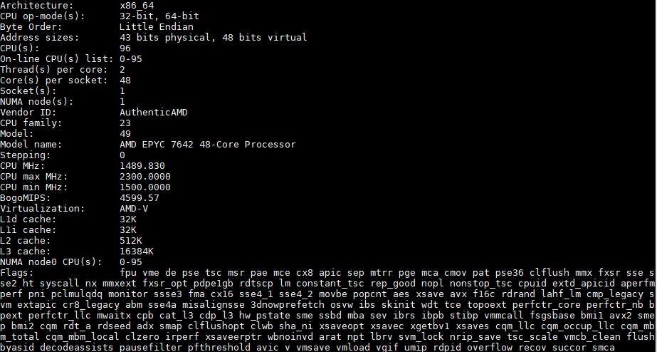 AMD EPYC 7642 Lscpu Output