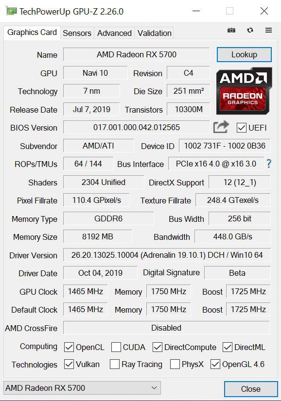 AMD Radeon RX 5700 GPUz