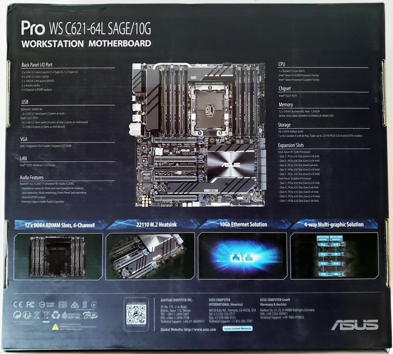 ASUS Pro WS C621 64L SAGE 10G Box Back