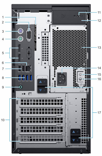 Dell EMC PowerEdge T40 Rear Labeled