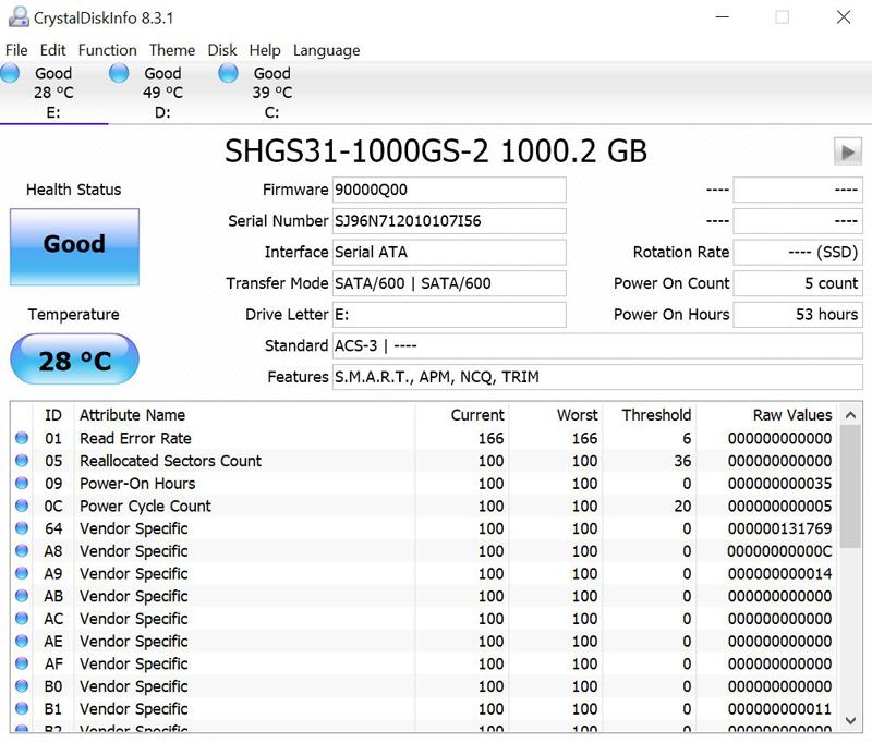 SK Hynix GOLD S31 1TB CrystalDiskInfo