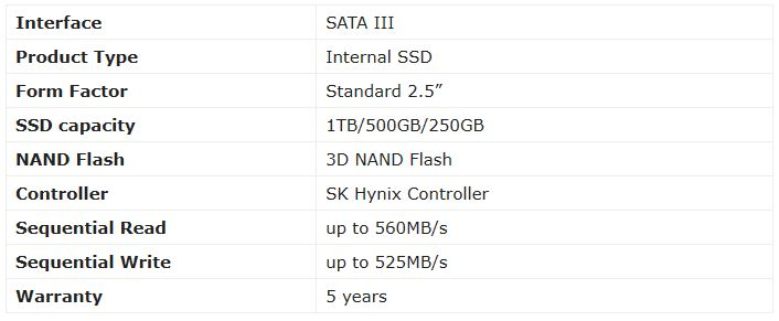 SK Hynix GOLD S31 1TB Specifications