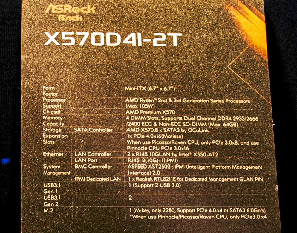 ASRock Rack X570D4I 2T Tag Close At SC19