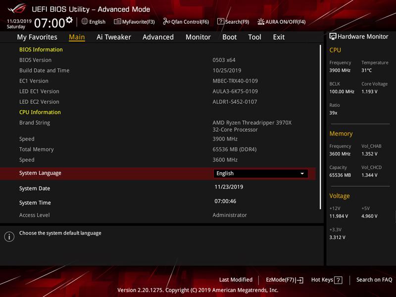 ASUS ROG Zenith II Extreme BIOS 2