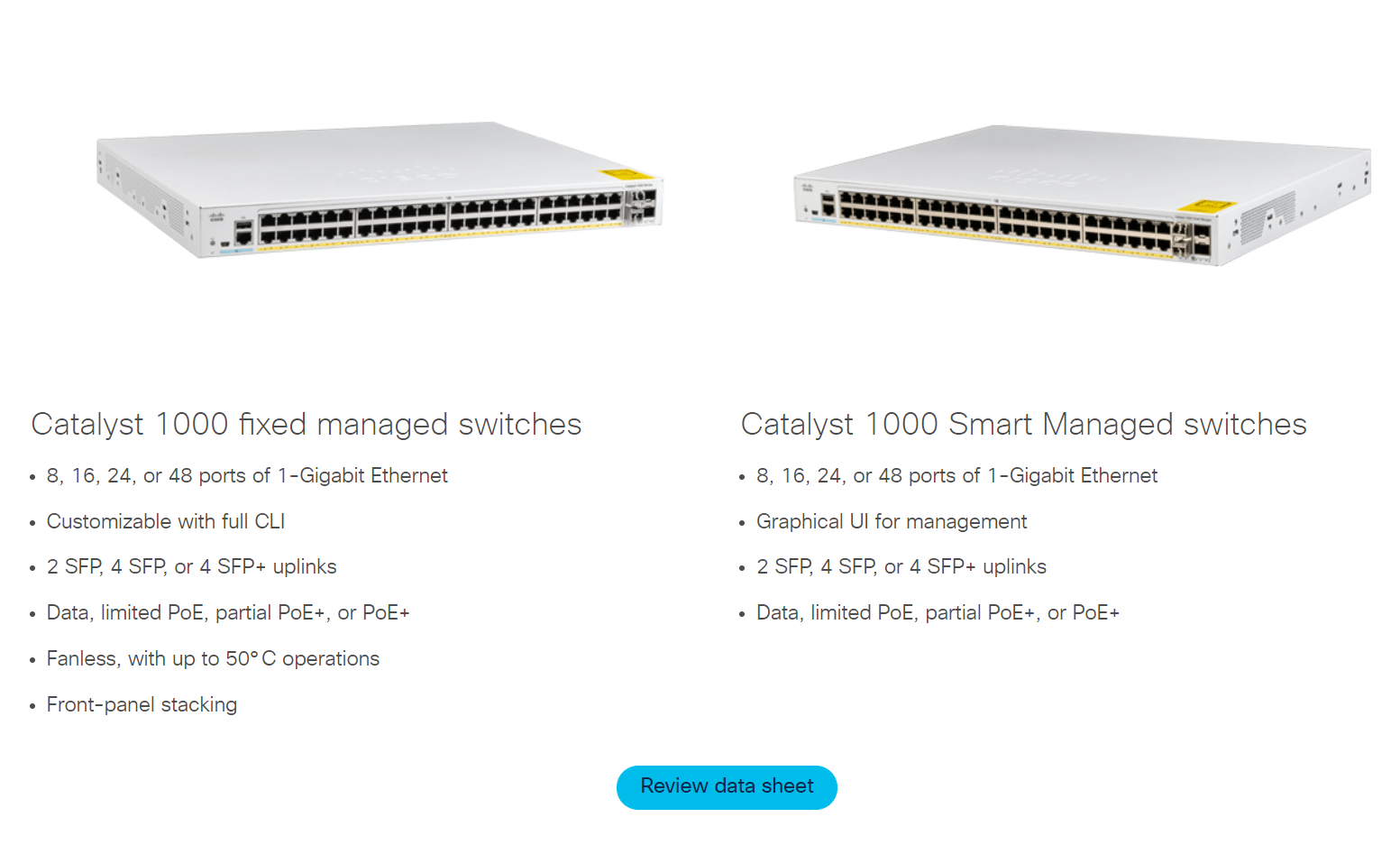 Cisco Catalyst 1000 Series Versus 2960 L