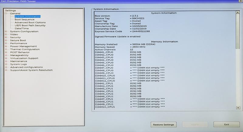 Dell Precision T7920 Workstation BIOS