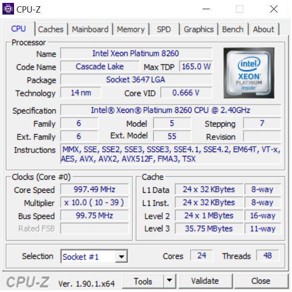 Dell Precision T7920 Workstation CPUz