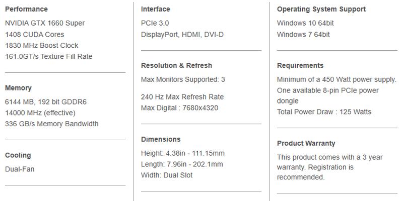 EVGA GTX 1660 SUPER SC ULTRA Specifications